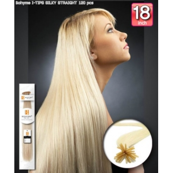 Bohyme Fusion 100% Remi Human Hair Weave, Silky Straight 18 inch I-Tip 120