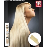 Bohyme Fusion 100% Remi Human Hair Weave, Silky Straight 18 inch V-Tip