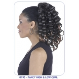 NEW BORN FREE Synthetic Drawstring Ponytail: 0195 FANCY HIGH & LOW CURL