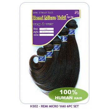 NEW BORN FREE 100% Human Hair weaving: H302 Remi Micro Yaki 6pc Set